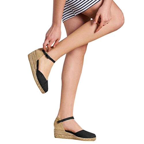 Nailyhome Womens Espadrille Wedge Sandals Closed Toe Platform Buckled Ankle Strap Slingback Sandals