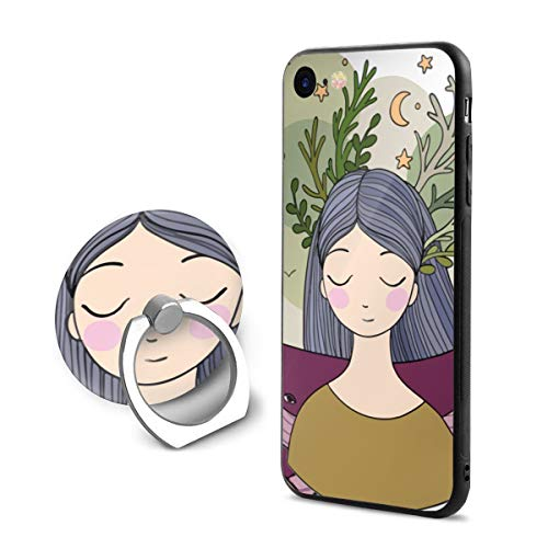 (SJDEI5W Beautiful Mermaid Mobile Phone Ring Stent + iPhone 8 Case/iPhone 7 Case, PC Rubber Case Compatible iPhone 8 2017/ iPhone 7)