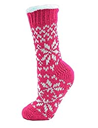 Ladies Long Slipper Socks with Fairisle Design and Full Soft Fleece Lining