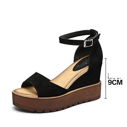 Hebilla De Una Palabra Con Sandalias De Tacón/Zapatos Del Verano Del Alto Talón Del Cuero Del Ocio A