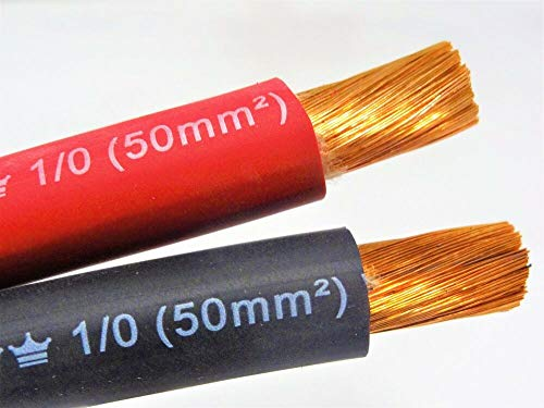 50' EXCELENE 1/0 AWG WELDING/BATTERY CABLE 25' RED 25' BLACK 600V MADE IN USA