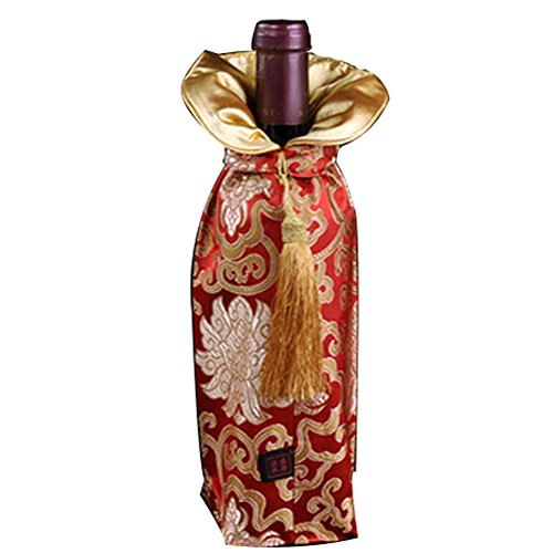 Durable Fabric Chinese Brocade Wine Bottle Gift Bags (Set of Two Wine Bottle Totes)