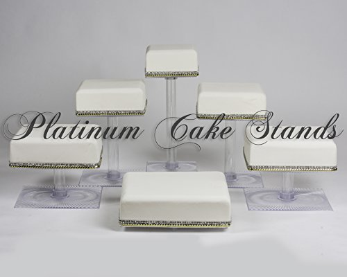 6 TIER SQUARE CASCADE WEDDING CAKE STAND (STYLE SQ630) ()