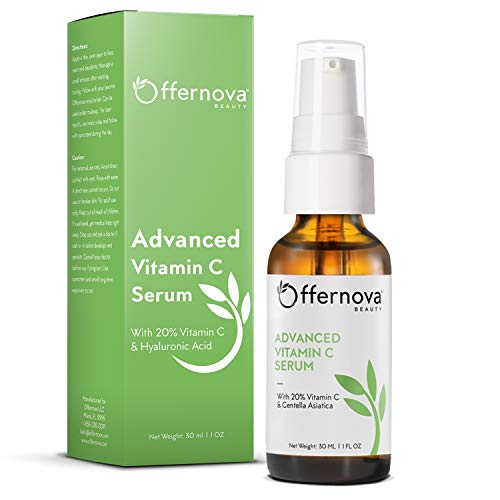 Offernova Organic Vitamin C Serum - 20% Vit C and Hyaluronic Acid Anti Aging Serum for Face, Eyes and Neck. Enhanced Absorption Dark Spot Corrector for Youthful Looking Skin, 1 oz