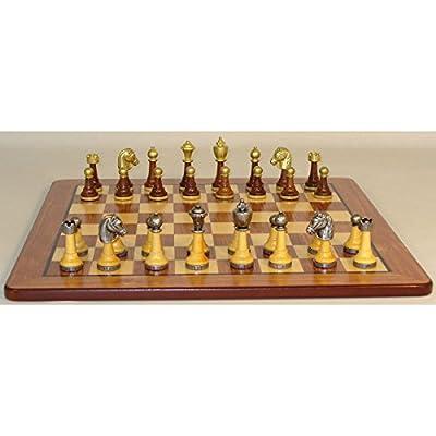 Worldwise Chess Set - Metal and Wood Chessmen on Maple Veneer Board