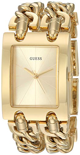 GUESS Gold-Tone Multi-Chain Bracelet Watch with Self-Adjustable Links. Color Gold-Tone Model U1117L2