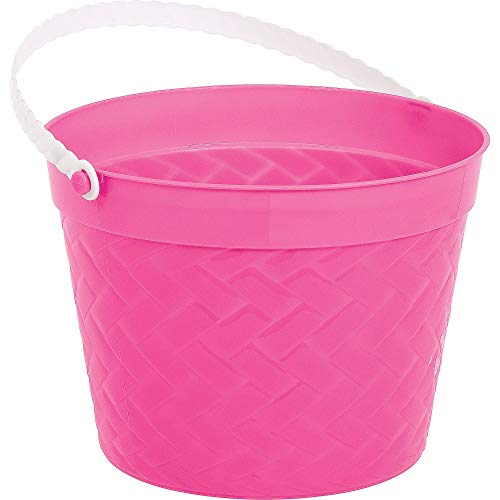 Amscan 130055 Plastic Bucket, 6 x 8 inches, Pink]()