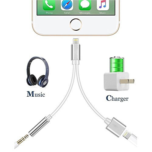 Onlik 2 In 1cell Connectors Lightning Charger And Earphone Stereo Jack Cable Adapter For Iphone 7/7