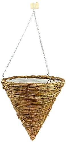 Master Garden Products Rattan Twig Cone Hanging Basket Container, 14-Inch