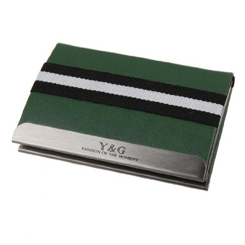 Y&G YDC03A04 Dark Green Thank You Present Mens Leather Elastic Card Case ()