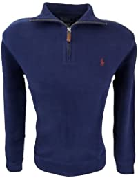 Mens Half Zip French Rib Cotton Sweater (Large, Navy)