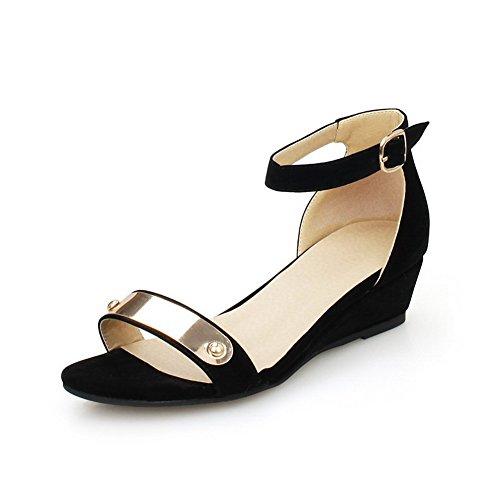 Allhqfashion Damesgesp Open Teen Lage Hakken Geïmiteerd Suede Massieve Sleehakken-sandalen Zwart