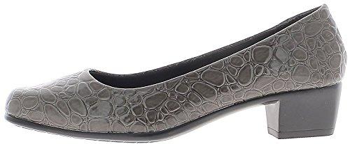 ChaussMoi Scarpe Donna Grigio Blocco di 4 Tacco cm Confortevole