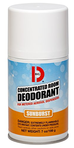 Big D 464 Concentrated Room Deodorant for Metered Aerosol Dispensers, Sunburst Fragrance, 7 oz (Pack of 12) - Air freshener ideal for restrooms, offices, schools, restaurants, hotels, (Aerosol Room Deodorant)