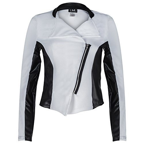 Contenta Women's Moto Blazer. Motorcycle Long Sleeve Contrast Side Zip Jacket. (medium, white/pu (Party City In Coral Springs)