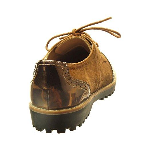 Angkorly - Chaussure Mode Derbies bi-matière femme perforée verni Talon bloc 2.5 CM - Camel