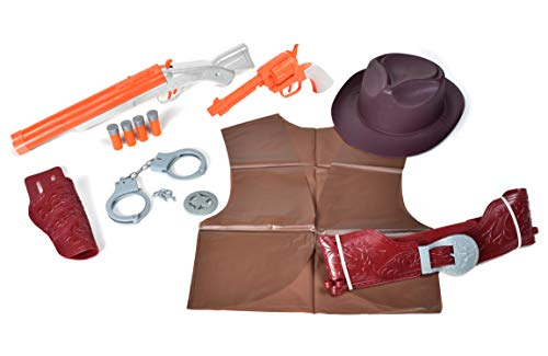 Sunny Days Entertainment Maxx Action Wild West Deluxe Costume Dress Up Role Play Playset with Cowboy Hat, Toy Pistol, Toy Shotgun and Shells, Handcuff with Keys, Holster Belt and Western Vest