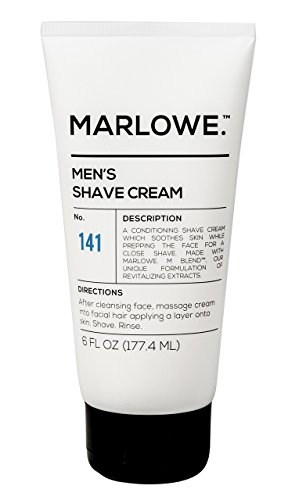 - MARLOWE. Shave Cream with Shea Butter & Coconut Oil No. 141 6 oz | Natural Shaving Better than Gel | Men and Women | Light Citrus Scent | Best for a Close Shave | Sensitive Skin Approved