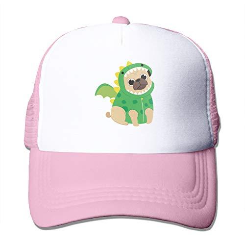 Pug Dog Wearing A Dragon Costume Adult Mesh Cap Adjustable Trucker Hat Snapback Pink ()