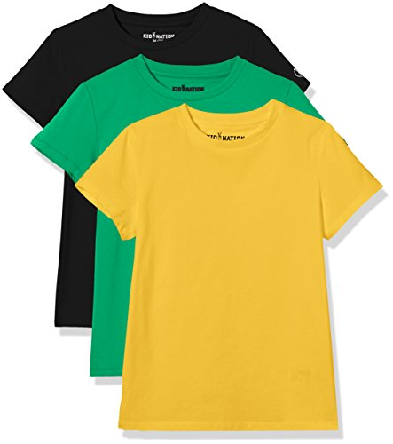 Color Shirt Black Pants (Kid Nation Kids' 3-Pack Short-Sleeve Crew-Neck Cotton Jersey Tee for Boys or Girls XS Yellow+Green+Black)