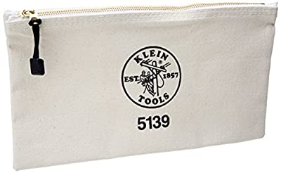 Klein Tools 5139 12-1/2-Inch Canvas Zipper Bag,White,Small by Klein