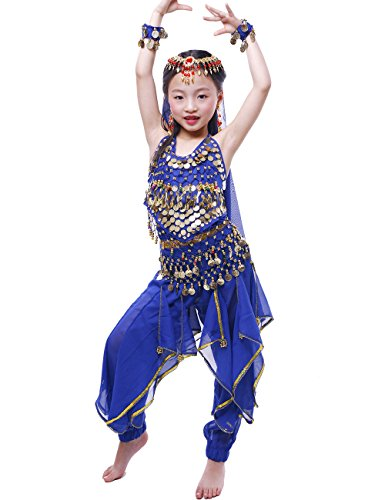 Costumes Performance Dance Belly (Astage Girls Oriental Belly Dance Sets Costumes All accessories Dark Blue S(Fits 3-5)