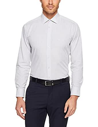 Calvin Klein Men's Slim Fit Business Shirt, Black Diagonal Stripe Dobby, 37cm Collar