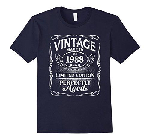 Mens Vintage Premium Made In 1988 T-Shirt 30th Birthday Gift 3XL Navy