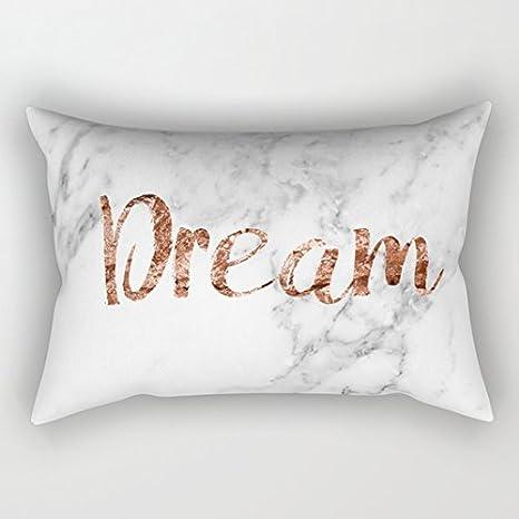 Federa Con Scritta In Inglese Dream Su Sfondo Con Effetto Marmo