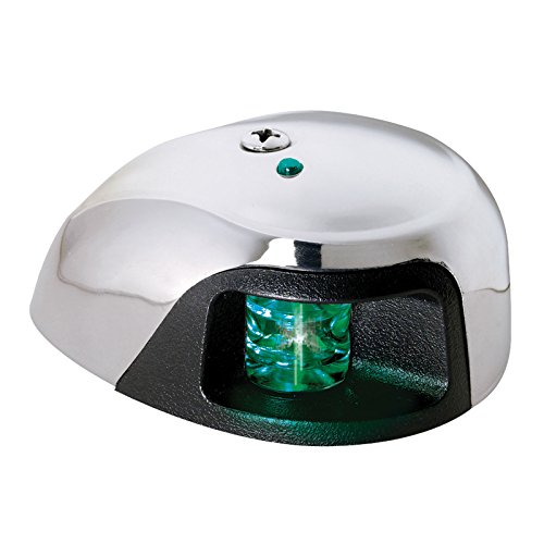 Attwood LED 1-Mile Deck Mount Navigation Bow Side Light, Stainless Steel  (Starboard/Green Lens)