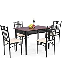 Tangkula 5 Piece Dining Table and Chairs Set Vintage...