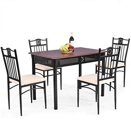 Tangkula 5 Piece Dining Table and Chairs Set Vintage Retro Wood Top Metal Frame Padded Seat Dining Table Set Home Kitchen Dining Room ()