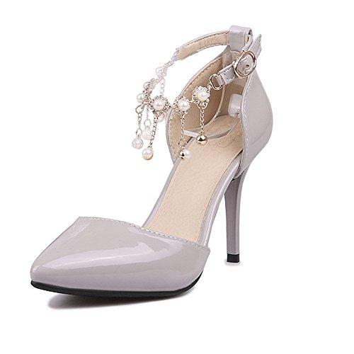 BalaMasa Girls D anello spikes-stilettos solido in vernice pumps-shoes, Grigio (Gray), 35