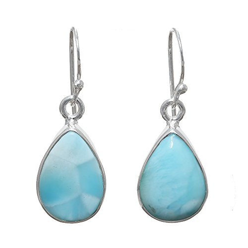 Sitara Collections SC10419 Sterling Silver Earrings, Larimar Cabochon