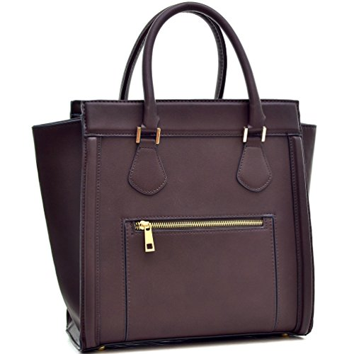 Dasein New Designer Vegan Leather Front Pocket Top Handble Satchel Handbag with Crossbody Strap (2579- Coffee)