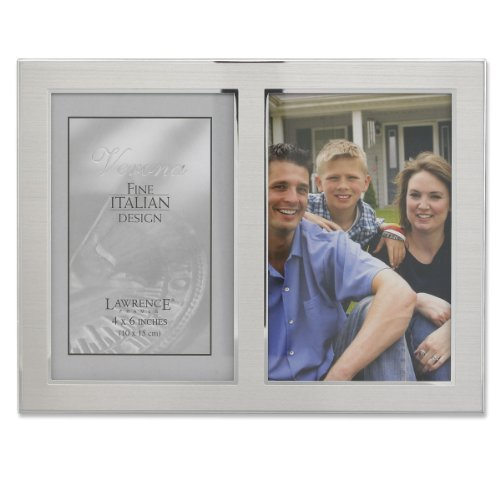 Lawrence Frames 2-Tone Double Opening Panel Picture Frame, 4 by 6-Inch, Brushed Silver Metal and Shiny - Pewter Tone Frame