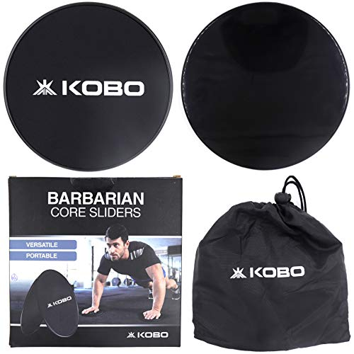 Kobo AC-96 Core Sliders Dual Sided Gliding Discs Use on Carpet or Hardwood Floors for Abdominal Exercise Fitness Equipment, Workout Legs, Arms Back, Abs at Home or Gym or Travel, Others, (Black) Price & Reviews