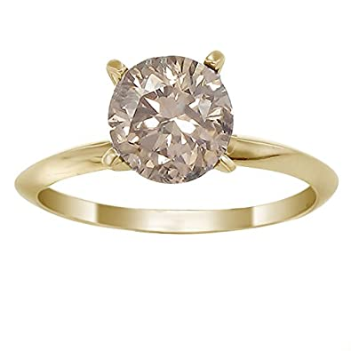 Amazoncom 14K Yellow Gold Champagne Diamond Solitaire Ring 14 CT