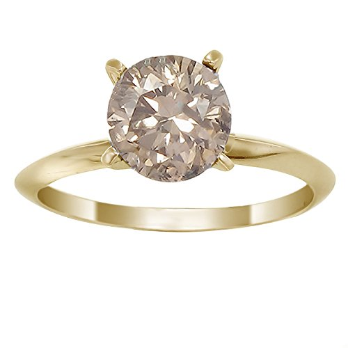 pagne Diamond Solitaire Ring (1/4 CT) In Size 7 (14k Natural Champagne Diamond Ring)