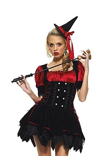Devil Costume With Black Corset (Prettycostume Women's Black and Red Irregular Hem Dress Halloween Witch Costume)