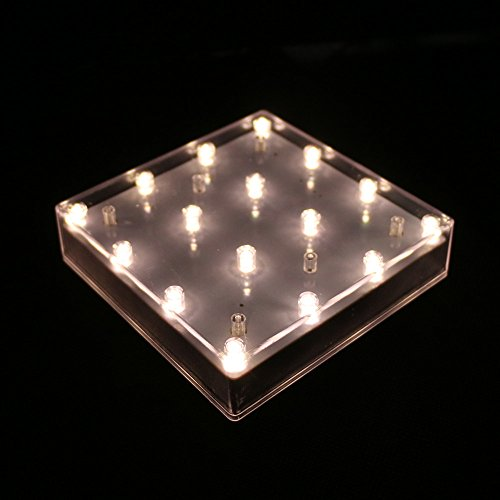 Eiffel Tower Base - Acmee 5 inch Light Plate Square Shape 16 LEDs Battery Operated Light Pedestal Base for Eiffel Tower Vase (Warm White)