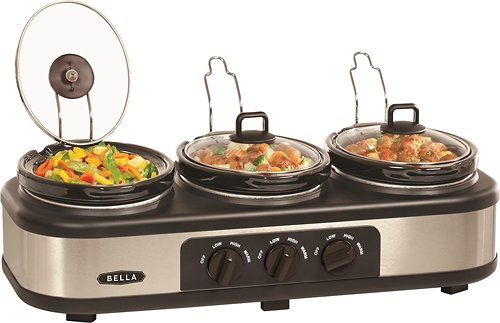 Bella 3 X 1.5 Quart Triple Slow Cooker with Lid Rests