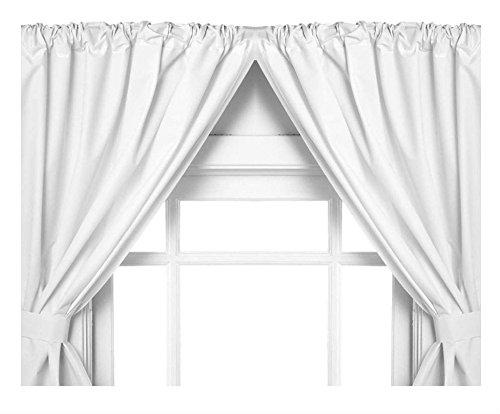 (White Vinyl Bathroom Window Curtain. 2 Panels with Tie Backs)