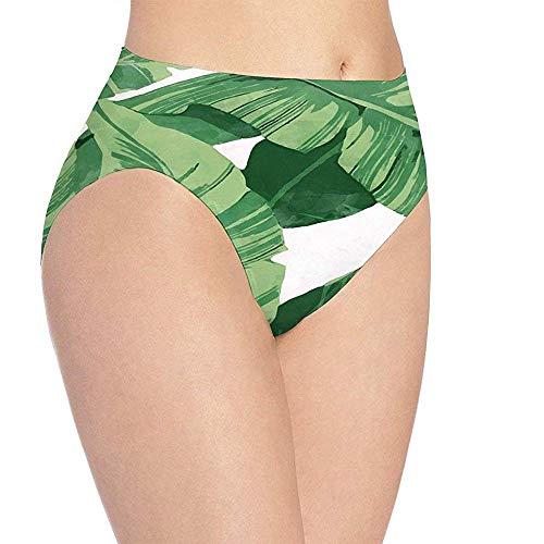Adamitt Ropa Interior Estampada de Hojas de Palma Verde Linda de Las Mujeres, Bragas de Calzoncillos Hipster Lindas de Las ni