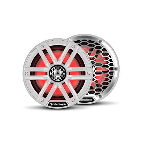 "Rockford Fosgate M2-65 Color Optix 6.5"" 2-Way Coaxial Multicolor LED Lighted Marine Speakers - White/Stainless (Pair)"