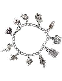 Alice in Wonderland Charm Bracelet- Stainless Steel Chain- Rabbit, Drink Me, Cards, Tea Pot- Sizes XS-XL