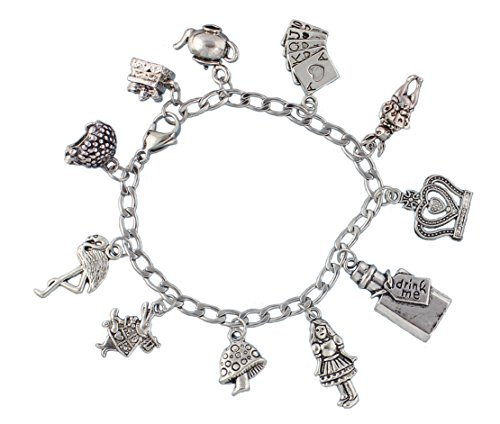 Queen Of Hearts From Alice In Wonderland (Alice in Wonderland Charm Bracelet- Stainless Steel Chain- Rabbit, Drink Me, Cards, Tea Pot- Size XS (6.5 Inches (Extra Small)))