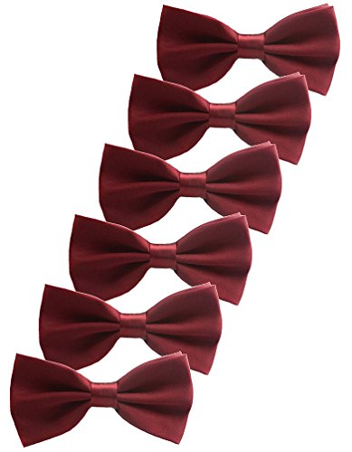 Udres 6 Pack Solid Bow Tie Satin Pre-tied Bowtie for Wedding Party (One Size, Dark Red)
