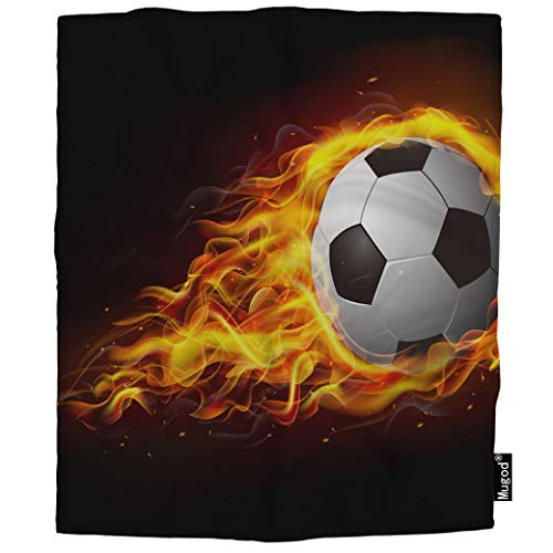 Mugod Soccer Ball Blanket Hot Football Match Blaze Burn Bright Fiery Game Fireball Fuzzy Soft Cozy Warm Flannel Throw Blankets Decorative for Boys Girls Toddler Baby Dog Cat 40X50 -