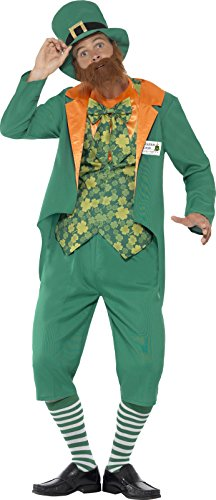 Smiffy's Men's Sheamus Craic Costume, Jacket, Mock Waistcoat, pants with Attached Bum, Hat and Beard, Funny Side, Serious Fun, Size M, 43400